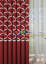 Blackout Kumaştan Petrol Mavi Geniş En Modern Pano Desenli Fon Perde 1. Kalite Kırmızı