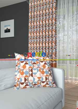 Tarçın Renk Modern Desenli Baskılı Fon Perde Farklı Üstü Desenli Altı Düz Geniş En 1. Kalite Çok Dökümlü