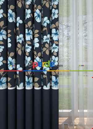 Lacivert Çiçek Desenli Baskılı Fon Perde Farklı Üstü Desenli Altı Düz Geniş En 1. Kalite Çok Dökümlü