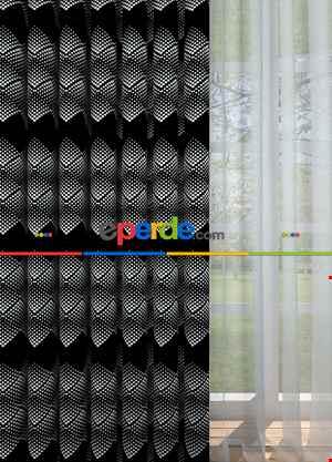 Siyah Geometrik Desenli Baskılı Fon Perde Geniş En 1. Kalite Çok Dökümlü