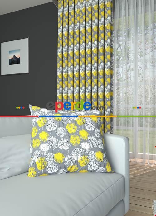 Gri Sarı Çiçek Desenli Baskılı Fon Perde Geniş En 1. Kalite Çok Dökümlü