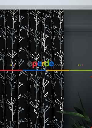 Siyah Beyaz Yaprak Desenli Baskılı Fon Perde 1. Kalite Çok Dökümlü