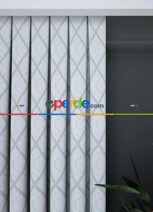 Açık Gri Geometrik Desenli Fon Perde 1. Kalite Çok Dökümlü
