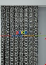 Blackout Kumaştan Gri Siyah Modern Desenli Baskılı Fon Perde Geniş En 1. Kalite Lacivert - Krem