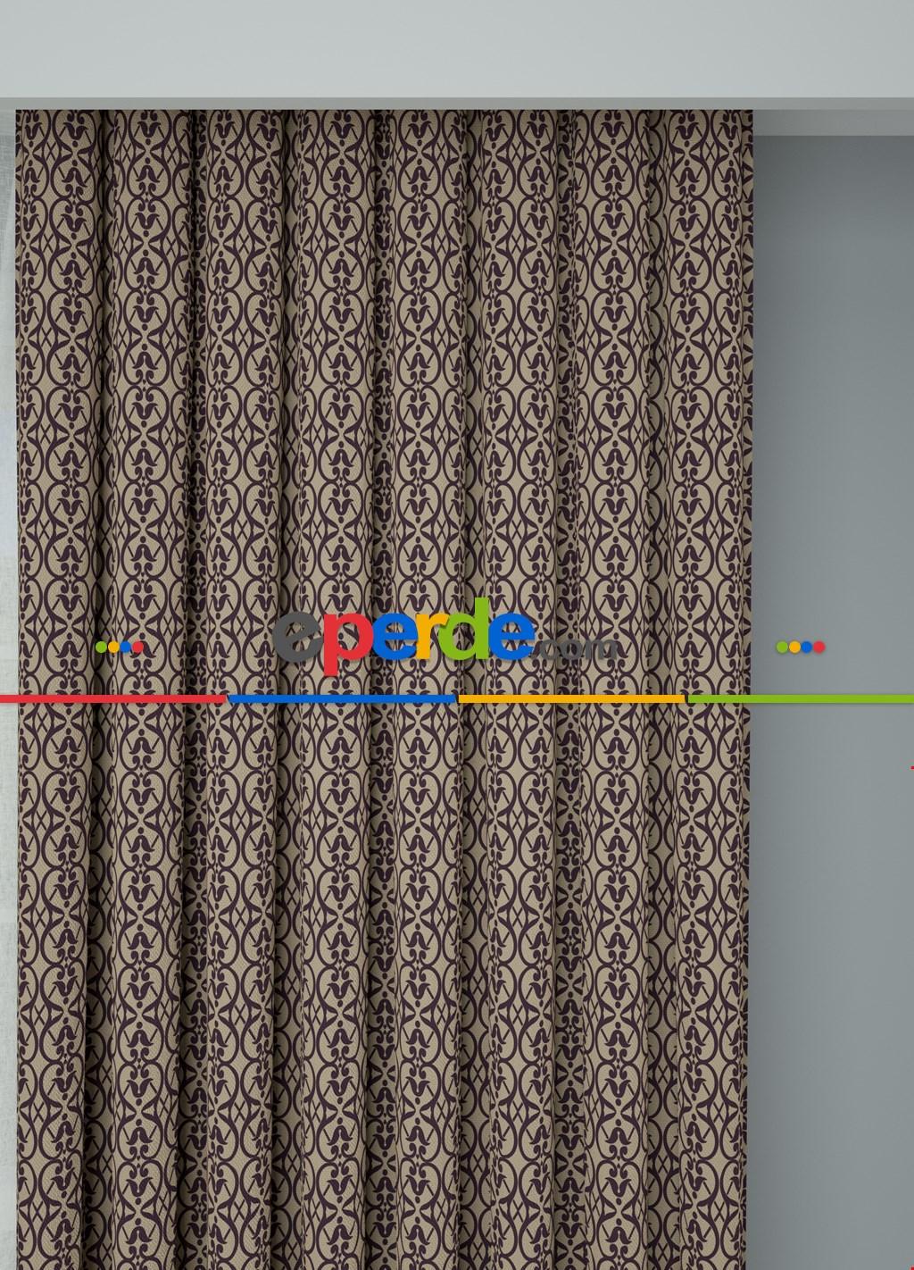 Bej Mor Modern Desenli Baskılı Fon Perde Geniş En 1. Kalite Çok Dökümlü