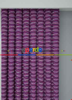 Mor Modern Desenli Baskılı Fon Perde Geniş En 1. Kalite Çok Dökümlü